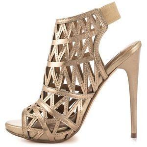 Steve Madden Gold Bratt Caged Peep Toe Heels
